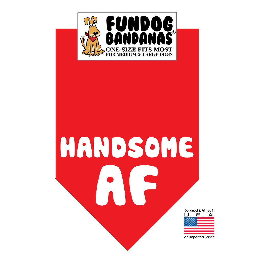 Fun Dog Bandana -Handsome AF - One Size Fits Most for Medium to Large Dogs, red pet scarf