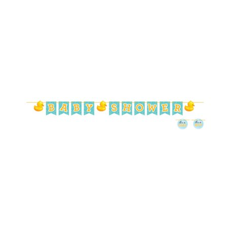 """Pack of 6 Bubble Bath Rubber Ducky """"Baby Shower"""" Pennant Banner 6.5'"""
