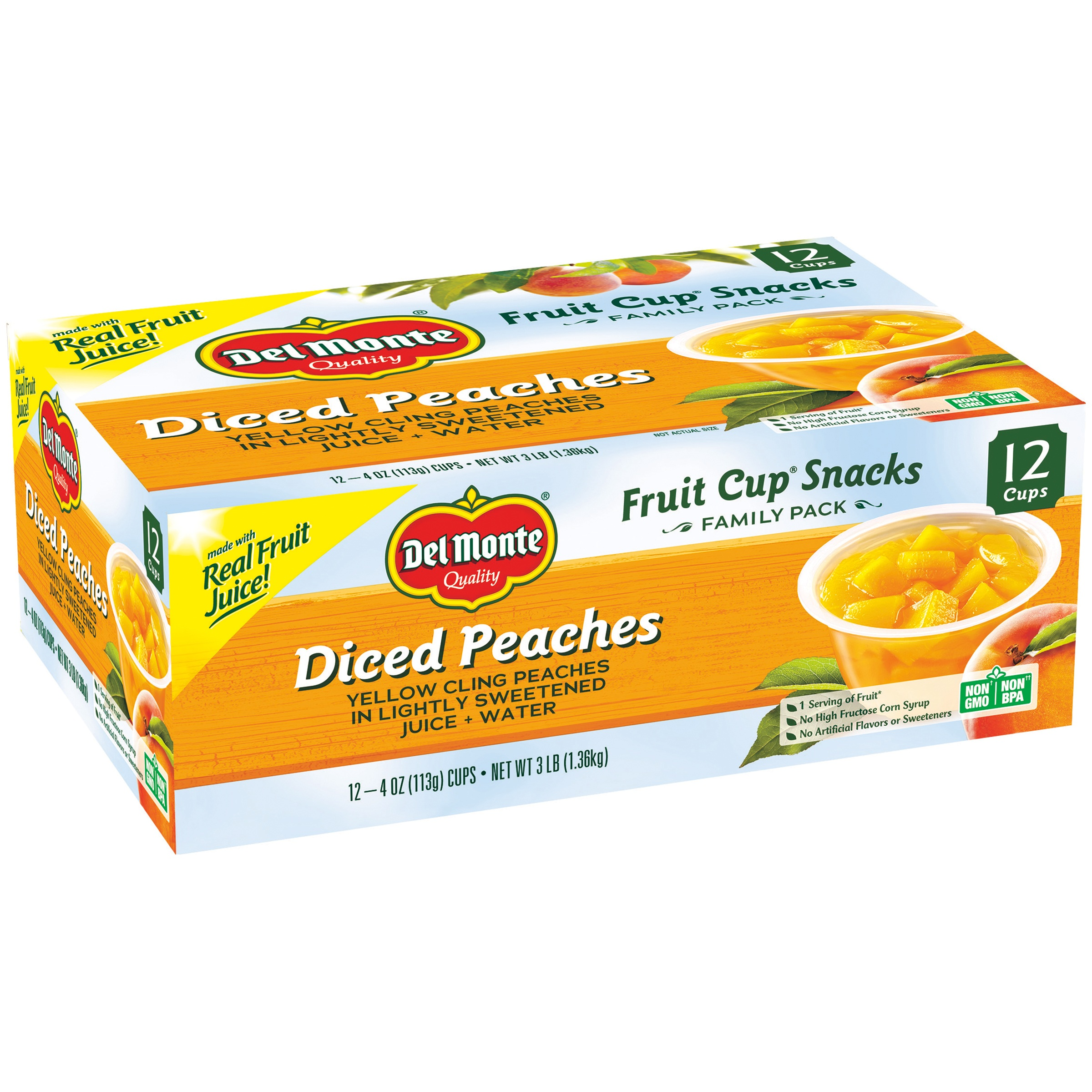 Del Monte Diced Peaches Fruit Cup Snacks, 4 oz, 12 count