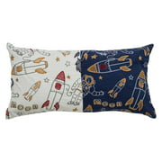 """Rizzy Home Decorative Poly Filled Throw Pillow Rocket Ships 11""""X21"""" Blue"""