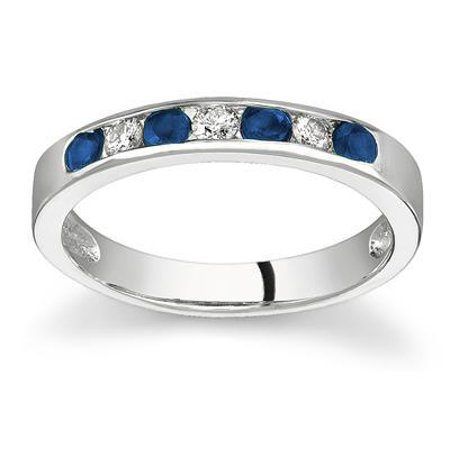 Sapphire and Diamond Stackable Channel Ring ()
