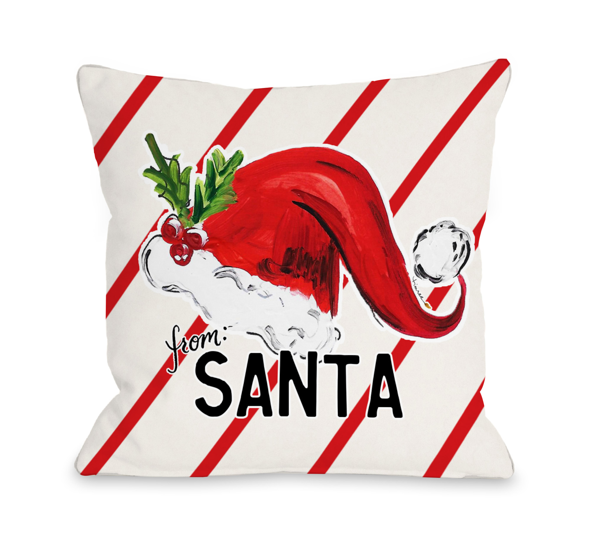 From Santa Hat - Cream Red 18x18 Pillow by Timree