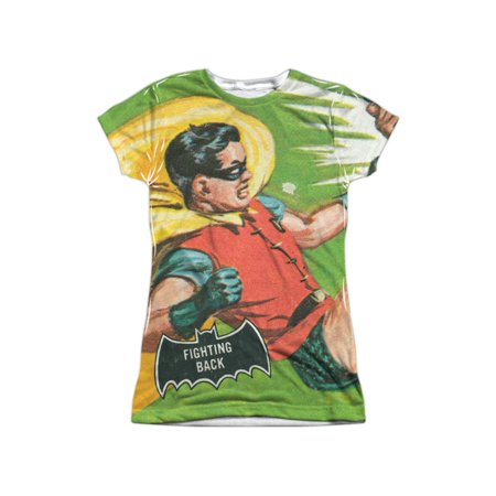 Batman Classic TV Series Retro Robin Fighting Back Juniors Front Print T-Shirt](Batman And Robin Girls)