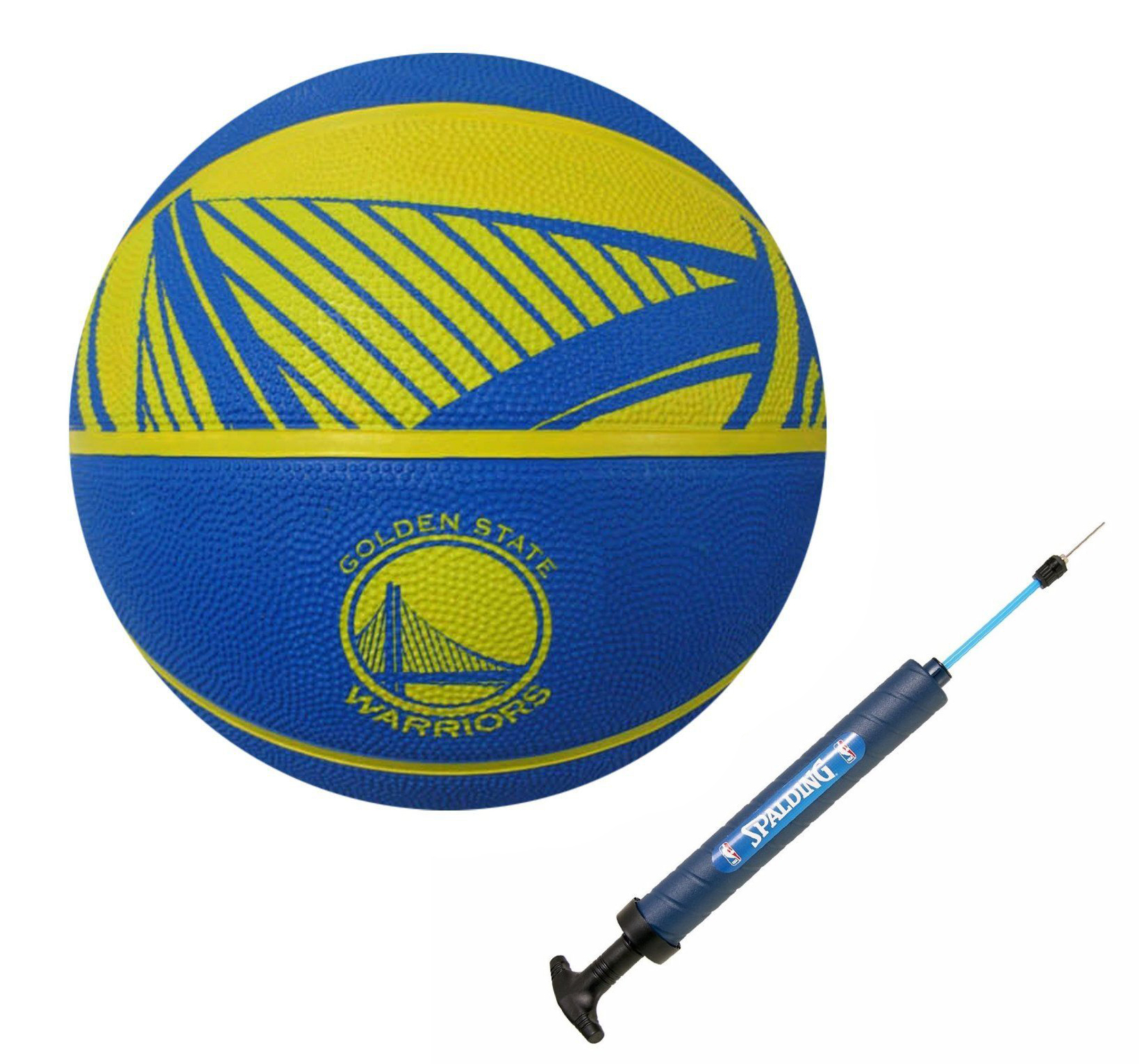 Spalding NBA Golden State Warriors Full Size Basketball + Spalding Pump