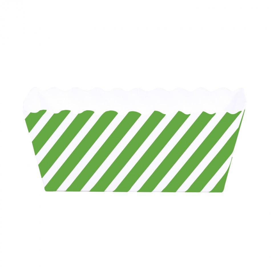 Dress My Cupcake Striped Rectangle Loaf Pan (Set of 6), Kiwi Green