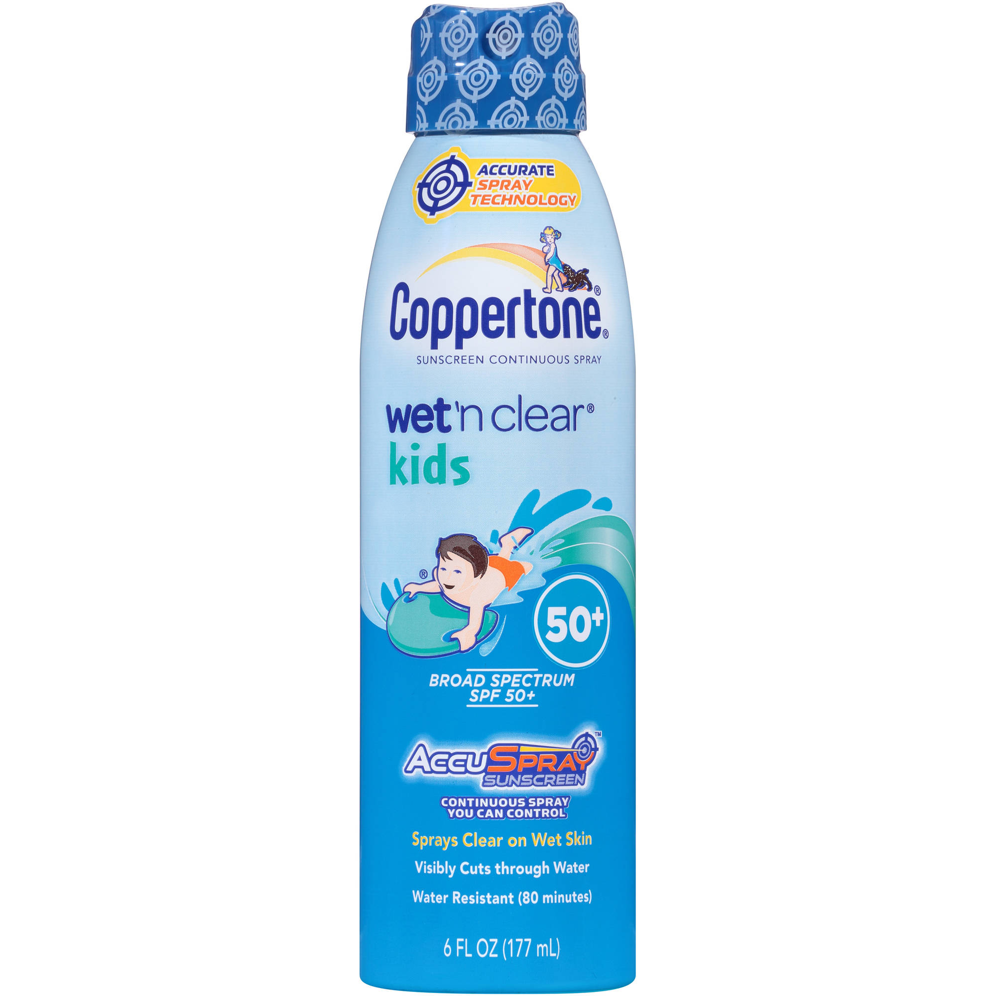 Coppertone Wet 'n Clear Kids Continuous Spray Sunscreen, SPF 50+, 6 fl oz