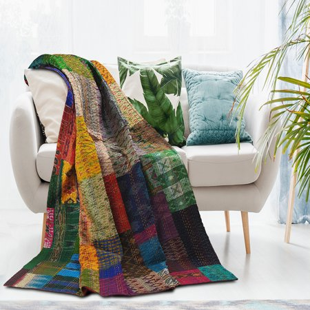 LR Home Kantha Multi Color Patchwork Traditional Patola 50 in. x 70 in. Throw Blanket