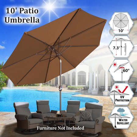 Sunrise Outdoor 10' Patio Umbrella 8 ribs with Tilt and Crank Garden Parasol Market Sunshade Umbrella (Brown)