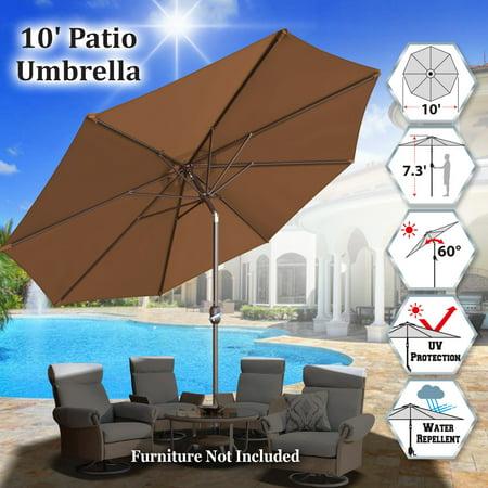 Sunrise Outdoor 10' Patio Umbrella 8 ribs with Tilt and Crank Garden Parasol Market Sunshade Umbrella (Brown) ()