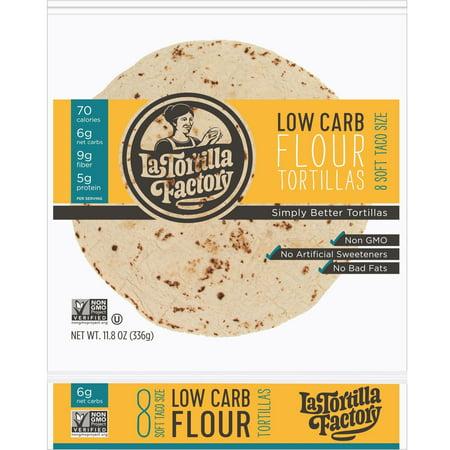 La Tortilla Factory Low Carb, High Fiber Tortillas, Traditional Flour, 8 Ea (Pack of 10)