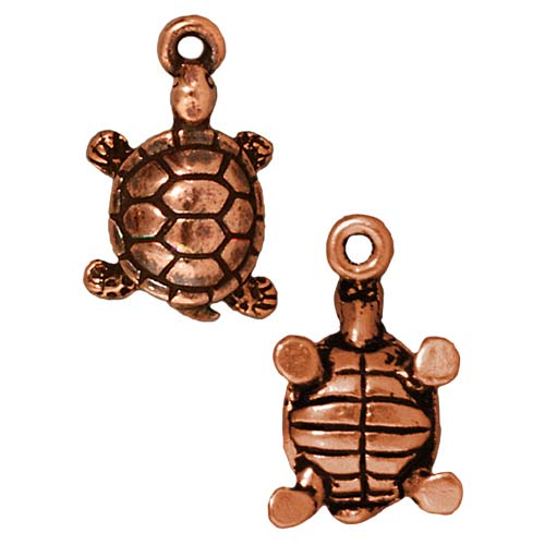 Copper Plated Pewter Lucky Turtle Charm 17.5mm (1)