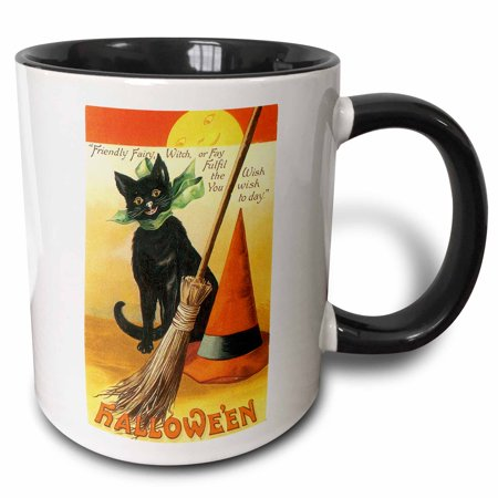 3dRose Vintage Halloween Black Cat Broom and Witchs Hat - Two Tone Black Mug, 11-ounce - Cat Face Halloween Tumblr
