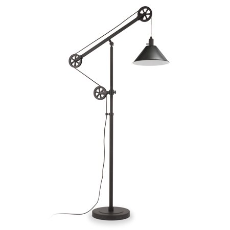 Descartes Industrial Farmhouse Floor Lamp in Blackened Bronze with Pulley System