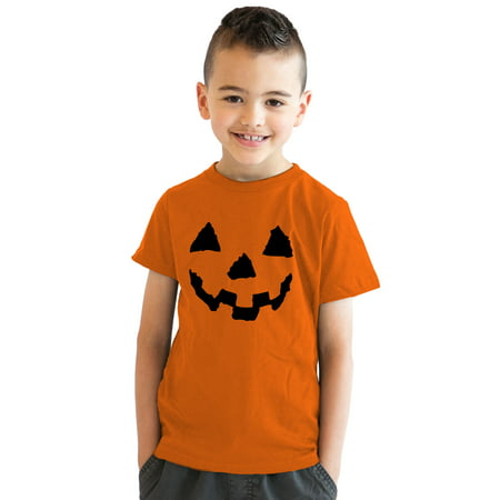 Crazy Dog T-shirts Youth Pumpkin Face T-Shirt Funny Halloween Shirt for Kids - Draw Halloween Pumpkin Face