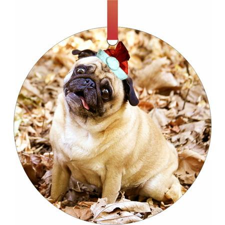 fa4176797ac0d Ornaments Funny Pug Dog in a Santa Claus Hat Semigloss Flat Round Shaped  Ornament Xmas Tree