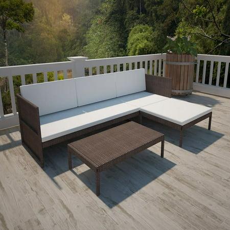 Outdoor Sofa Set Nine Pieces Brown Poly Rattan ()