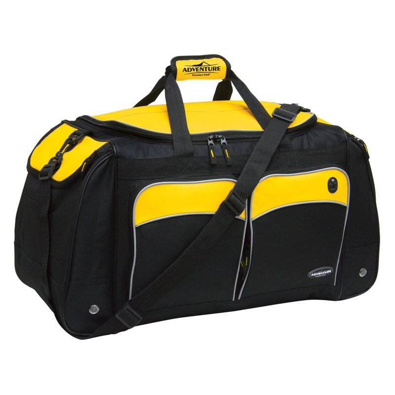 "Travelers Club 28"" Jumbo Multi-Pocket Duffel - Black w/ Yellow Trim"