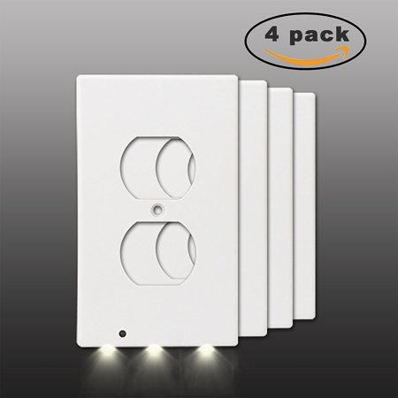 Exgreem GuideLight( 4 Pack)- Best Energy Saving LED Night Lights Wall Outlet Cover- Fireproof Material- No Batteries Or Wires,