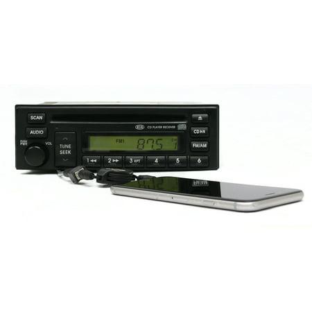 Kia Rio 2003-2005 AM FM Radio Single Disc CD Player w Pigtail Aux PN 96160FD111 - Refurbished