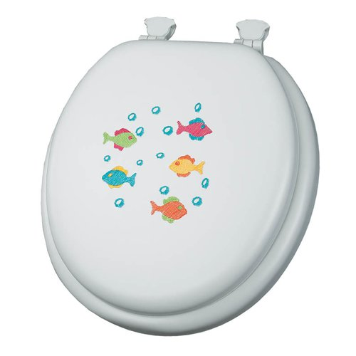 Mayfair 1366EC Embroidered School of Color Lift-Off Cushioned Vinyl Round Toilet Seat, White by Mayfair
