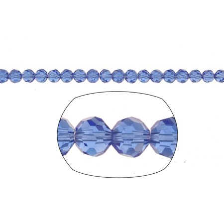 Cobalt Blue Round Crystal Beads 4mm, 32-Facet Surface Cutted, 100cnt per string of 16 inchs