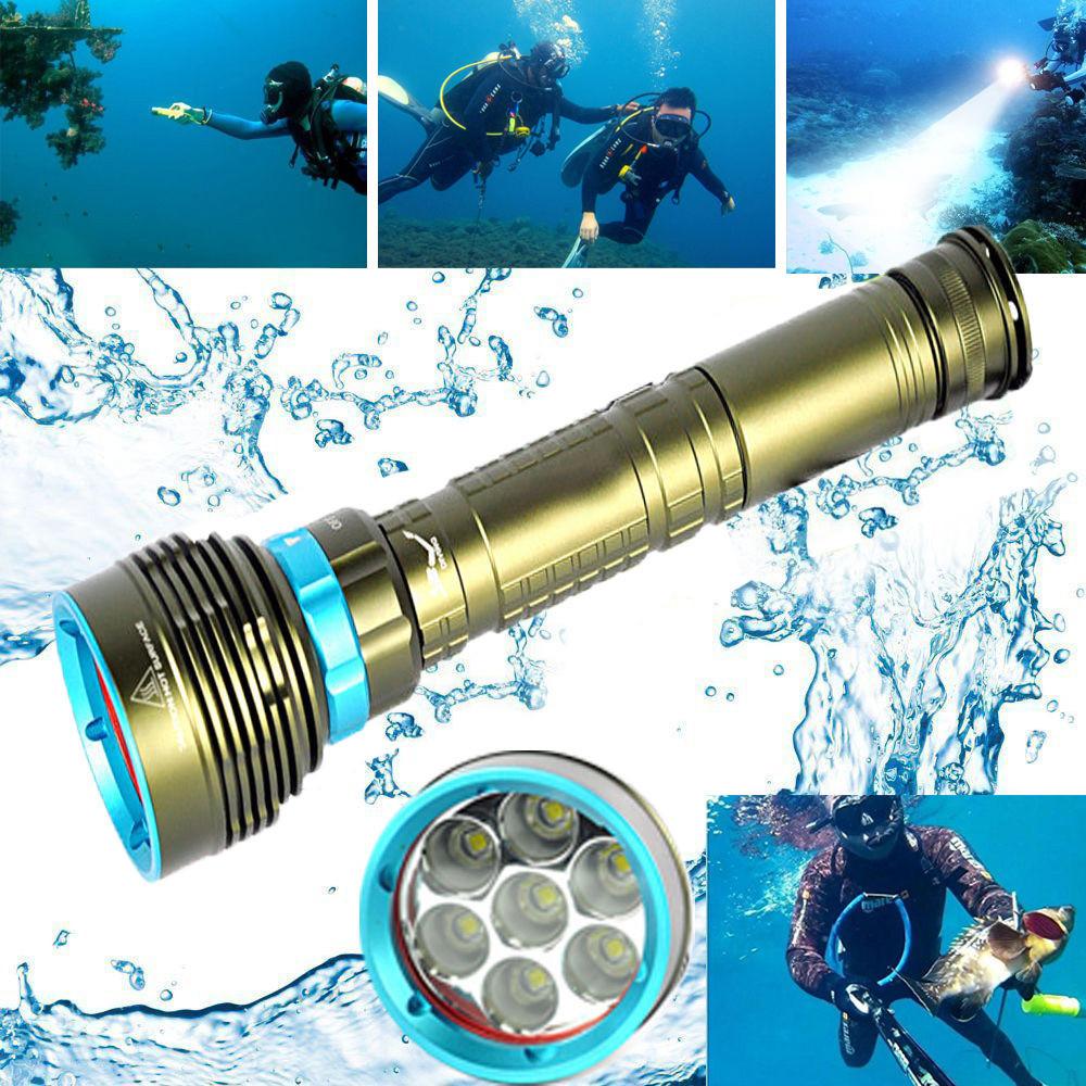 Tuscom Underwater 200m 20000LM 7x XM-L2 LED Scuba Diving Flashlight 3X18650/26650 Torch