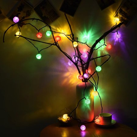 Pingfulfill Outdoor Solar String Lights  Cymas Rattan Globe String Lights Decorative For Home  Garden  30Leds  21 3Ft