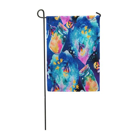 KDAGR Abstract Fairy Tale Magic Bottle and Firefly Watercolor Lantern Garden Flag Decorative Flag House Banner 12x18 inch - Firefly Hours