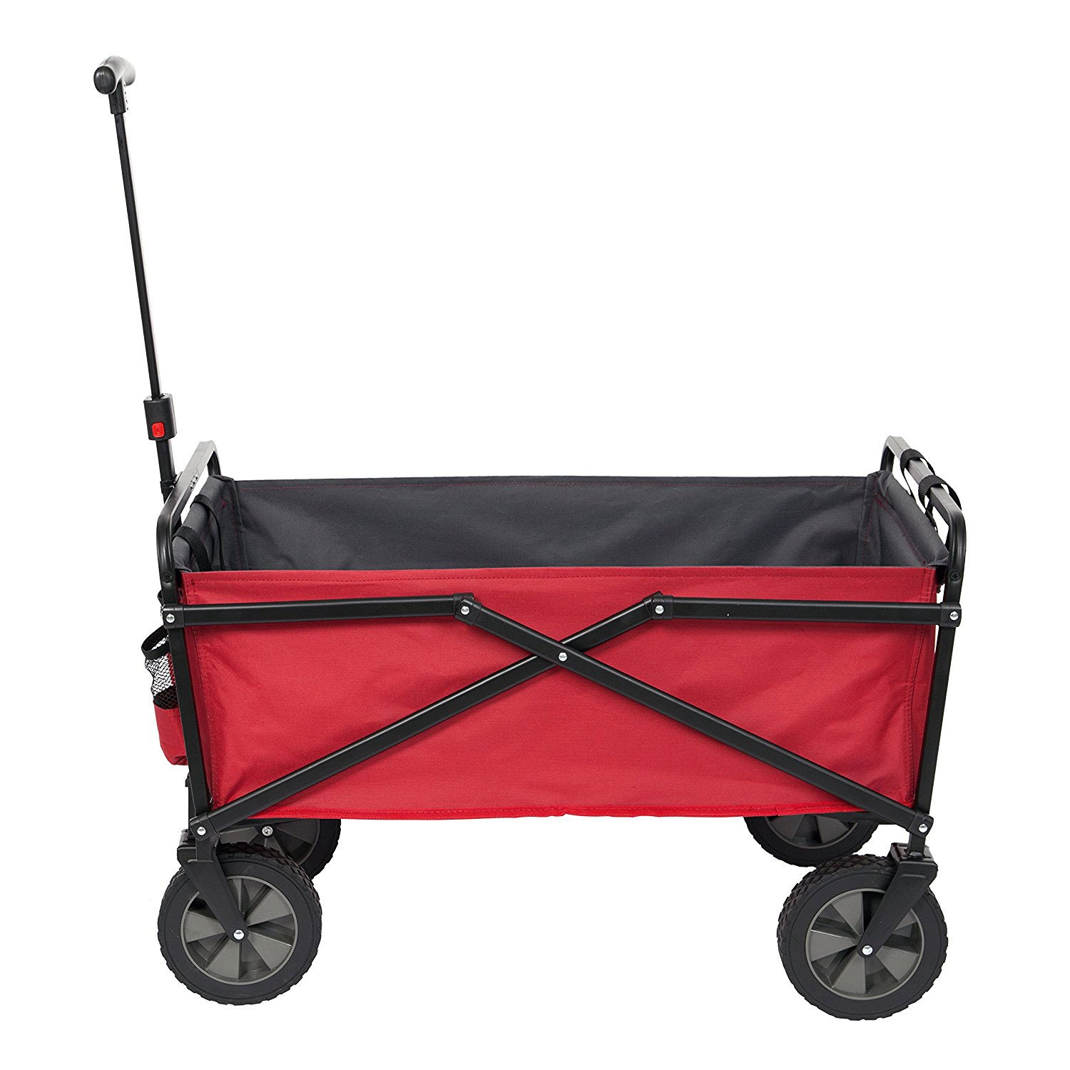 Seina Collapsible Steel Frame Folding Utility Wagon Outdoor Garden Cart, Red
