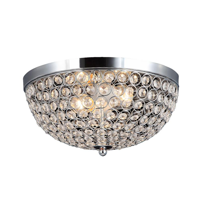 Elegant Designs 2-Light Elipse Crystal Flush Mount Ceiling Light