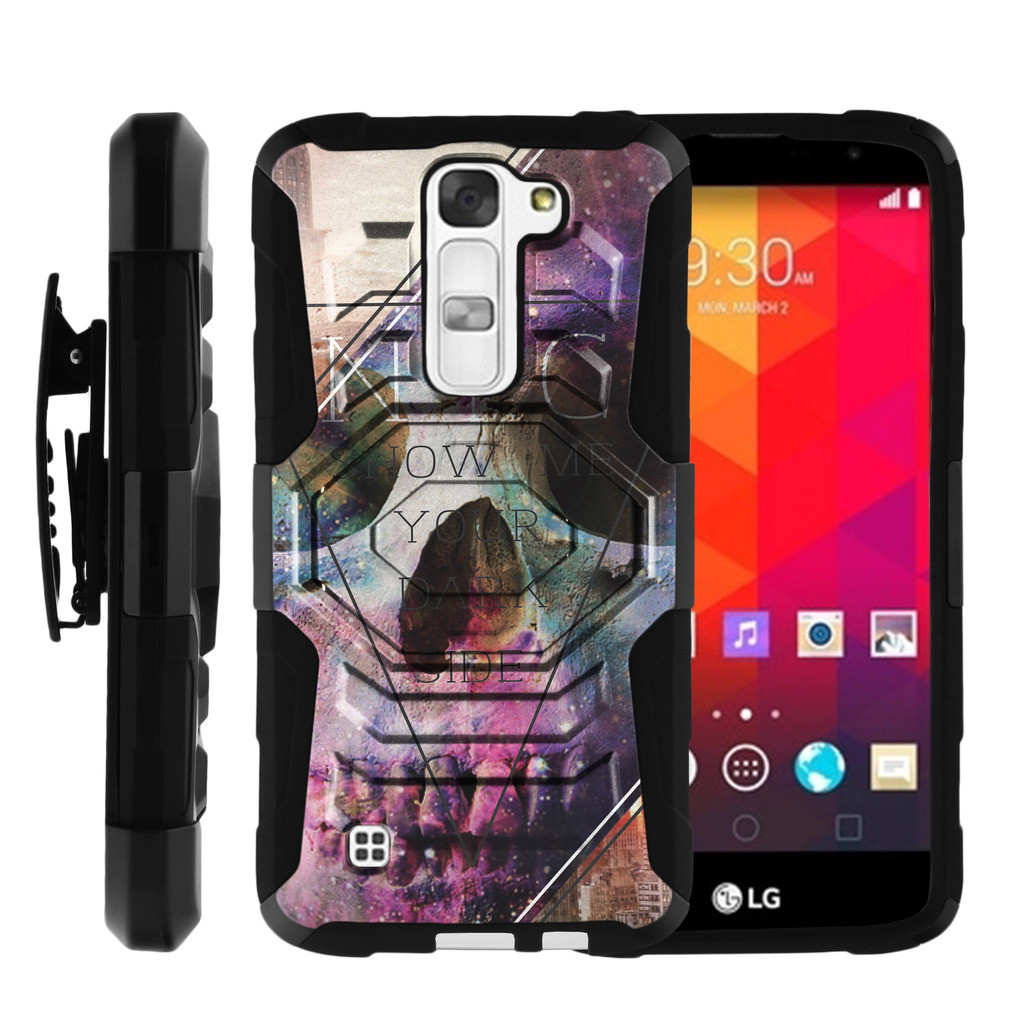 LG Phoenix 2 Case | LG K8 Case | LG Escape 3 [ Armor Reloaded ] Heavy Duty Phone Case for LG K8 with Kickstand + Belt Clip - Purple Deathly Skull