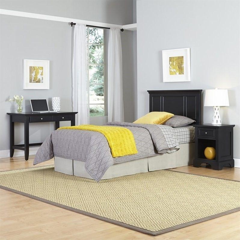 Home Styles Bedford Twin Headboard 3 Piece Bedroom Set in Black - image 1 de 2