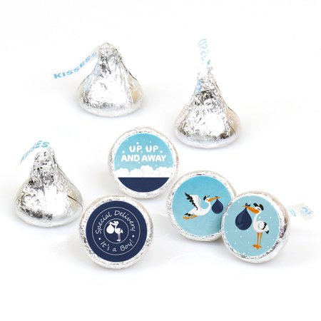 Boy Special Delivery - Blue Stork Baby Shower Round Candy Sticker Favors - Labels Fit Hershey's Kisses (1 sheet of (Special Delivery Stork)