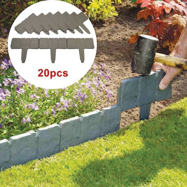Garden Border Edging 10 20 40pcs Gray, How To Lay A Stone Garden Edge