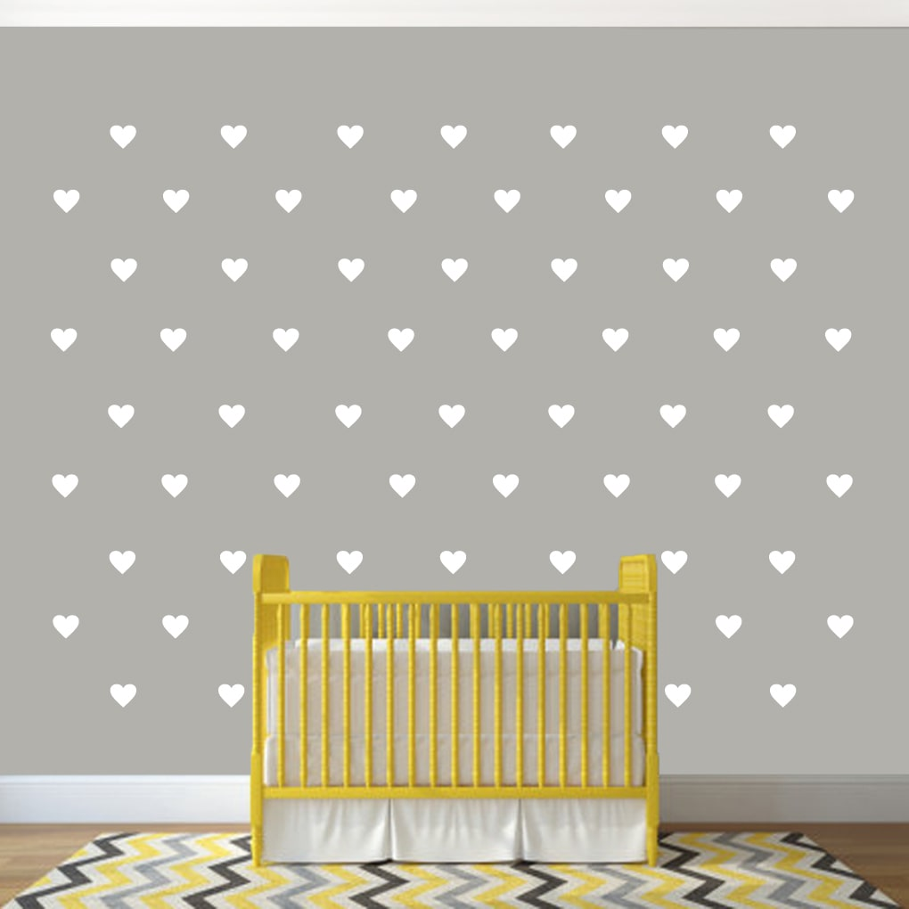 Set of Hearts Wall Decals GREEN