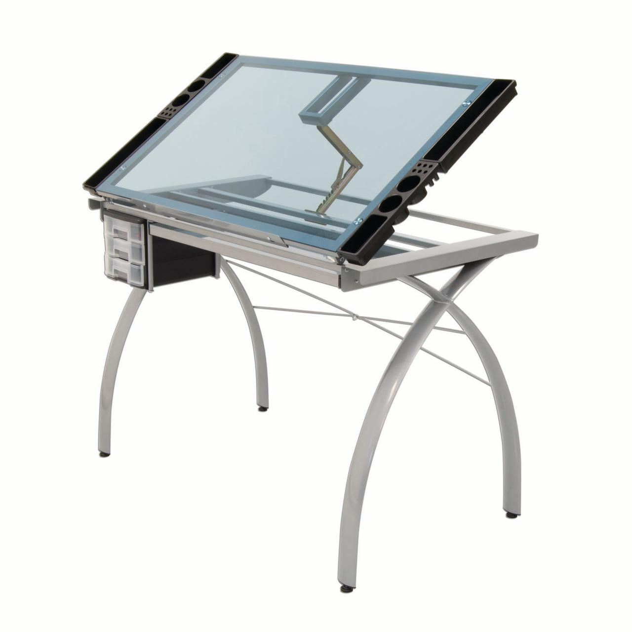 Offex Office Futura Craft Station Drawing / Drafting Table   Silver / Blue  Glass