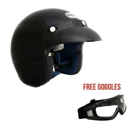 Motorcycle 3/4 Open Face Helmet Snap On Visor Street Cafe Racer D O T - Glossy Black (Large) with (Best Cafe Racer Helmet)