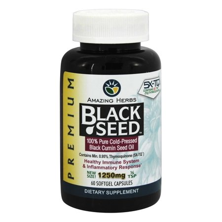 Amazing Herbs - Black Seed 100% Pure Cold-Pressed Oil 1250 mg. - 60 Softgels Anti Alcohol Antioxidants 100 Capsules