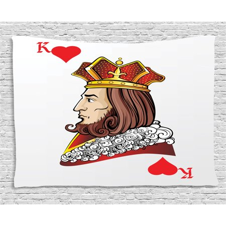 Casino Tapestry, King of Heart Deck Romantic Graphic Play Card Design Gambling Good Luck Chance Theme, Wall Hanging for Bedroom Living Room Dorm Decor, 60W X 40L Inches, Multicolor, by Ambesonne