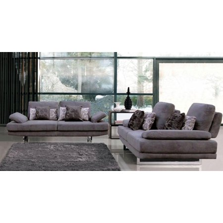 ESF-1174 Modern Light Grey Microfiber Fabric Sofa and Loveseat Set 2Pcs