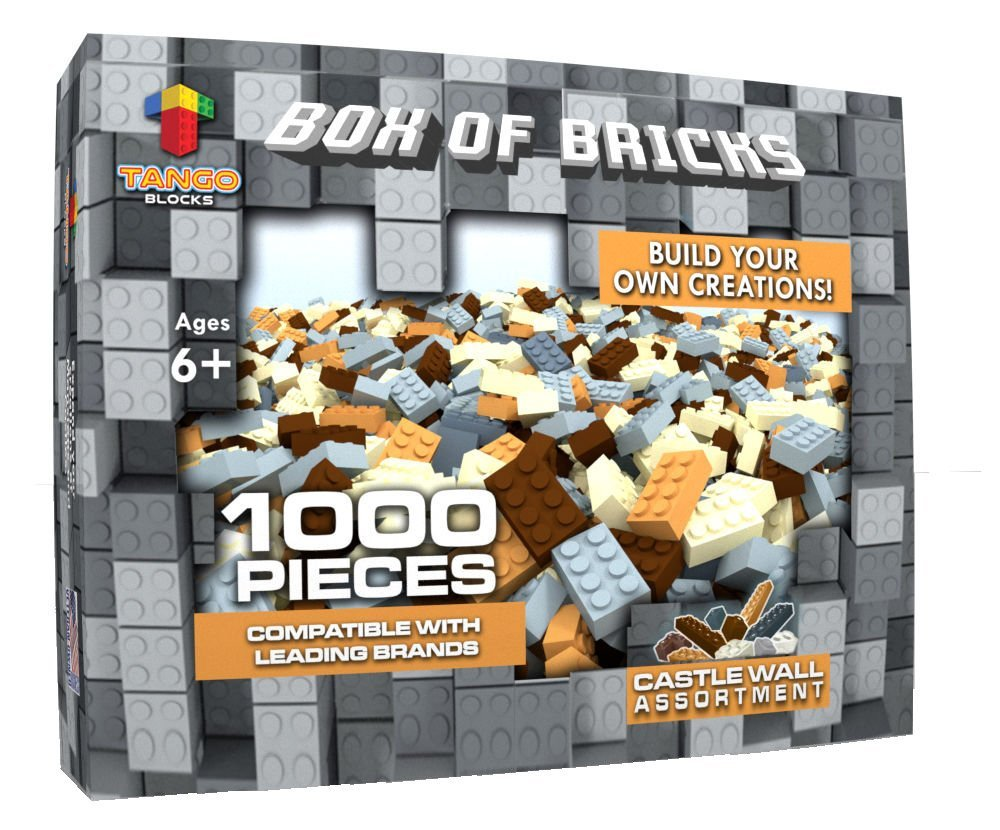 Tango Blocks Crafting Wall Building Bag of Bricks Set for Building Walls,  Dungeons, Caves, Mine or Fortress 1,000 Piece Premium Block Set