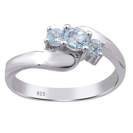 925 Sterling Silver 0.6 Carat Blue Topaz Wedding Ring For Women OJR-16872BT_8 - Cheap Pretty Rings