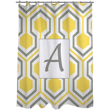 Monogram Shower Curtain (Thumbprintz Honeycomb Monogram Yellow Shower Curtain)