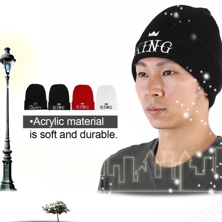 Yosoo 4Types Men Women Embroidery KING QUEEN Letters Couple Knitted Acrylic Warm Hat Cap, Winter Hat, Hat,Warm Cap - image 2 of 7