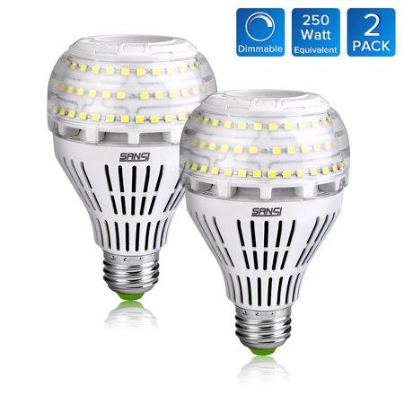 27W (250 Watt Equivalent) A21 Dimmable LED Light Bulbs, 3500 Lumens, 5000K Daylight, 270 degree Omni-directional, E26 Medium Screw Base LED Floodlight Bulb, 5-Year Warranty, SANSI (2 Pack)