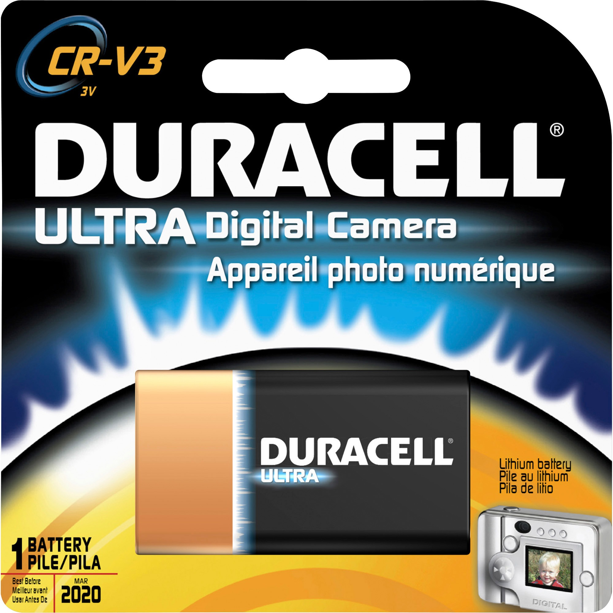 Duracell Lithium Digital Camera 3V Battery - DLCRV3, 1 Each (Quantity)