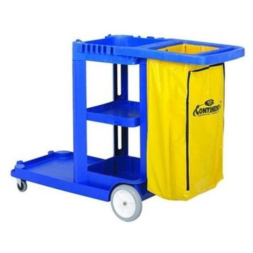 "Continental Janitorial Cart - 25 Gal Capacity - 8"", 3"" Caster - Plastic, Vinyl - 38"" X 55"" X 30"" X 38"" - Blue (184BL)"