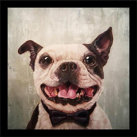 Buyartforless FRAMED A Black Tie Affair Grinning Dog by Lucia Heffernan 12x12 Boston Terrier Bow-tie Art Print Poster Humor