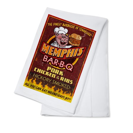 Memphis, Tennesseee - Barbecue Vintage Sign - Lantern Press Artwork (100% Cotton Kitchen