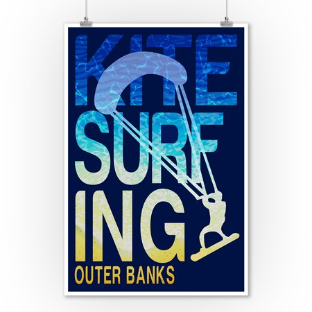 Outer Banks, North Carolina - Kite Surfing Silhouette - Lantern Press Poster (9x12 Art Print, Wall Decor Travel